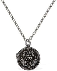 Gucci Gg Marmont Sterling Silver Pendant Necklace - Metallic