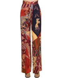 Etro - Wide Leg Printed Cady Pants - Lyst