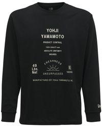 Yohji Yamamoto Camiseta New Era De Jersey De Algodón Estampada - Negro