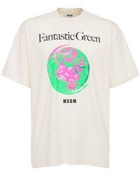 MSGM - Bedrucktes T-shirt Aus Baumwolljersey - Lyst