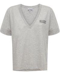 Ganni Logo Recycled Cotton Blend T-shirt - Серый