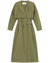 Ganni Stretch Canvas Trench Coat - Green