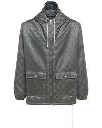 Gucci Jacke Aus Nyloncanvas Mit Kapuze - Grau