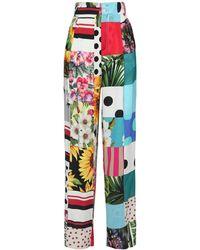 Dolce & Gabbana Patchwork シルクシャルミューズフレアパンツ - マルチカラー