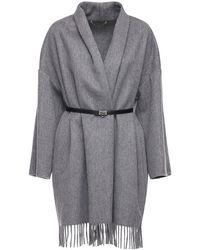Ferragamo Cashmere & Wool Cape W/ Leather Belt - Gray
