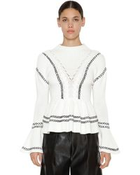 Self-Portrait Ruffled Cotton Knitted Sweater - White