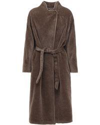 Agnona Brushed Alpaca Coat W/ Belt - Brown
