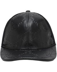 Gucci Logo-embossed Leather Trucker Cap - Black