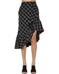 Self-Portrait Ruffled Printed Crepe Midi Skirt - Black