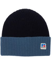 BOSS x Russell Athletic Logo Ribbed Wool Beanie - Blue