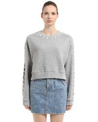 Jonathan Simkhai Sweat-shirt Court En Coton Éponge Avec Coutures - Gris