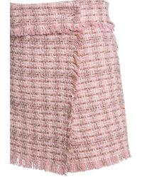 MSGM コットンブレンドツイードミニスカート - ピンク