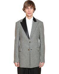 Loewe 2bt Wool Houndstooth Tuxedo Jacket - Black