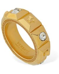 Versace Palazzo Fedina Ring W/ Crystals - Metallic