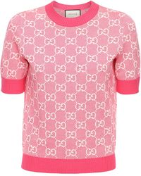 Gucci Gg Jacquard Knit Wool & Cotton Top - Pink