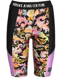 Versace Jeans Couture - ストレッチジャージーバイカーショートパンツ - Lyst