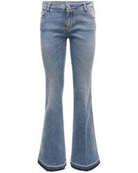 Ermanno Scervino Jeans Large En Denim De Coton - Bleu