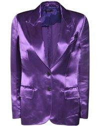 Tom Ford Pantalon De Pyjama En Satin De Soie - Violet