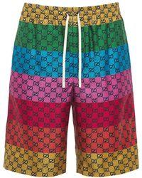 Gucci Gg Multicolor シルクツイルハーフパンツ - マルチカラー