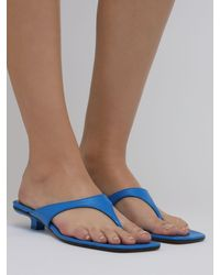 BY FAR 30mm Jack Leather Thong Sandals - Blue
