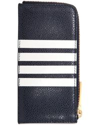 Thom Browne - Zip Around Leather Wallet W/ Stripes - Lyst