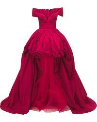 Zuhair Murad Schulterfreies Abendkleid Aus Taft - Rot