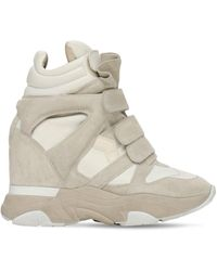 Isabel Marant 60mm Balskee Suede & Leather Sneakers - White