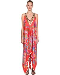 Etro - Printed Silk Dress W/ Tassel Necklace - Lyst