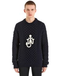 J.W. Anderson | Logo Cotton Blend Cable Knit Sweater | Lyst
