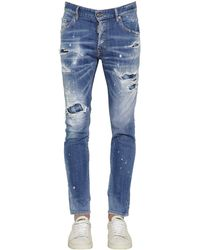 DSquared² 16cm Skater Stretch Cotton Denim Jeans - Blue