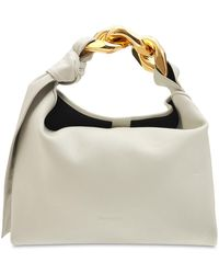 JW Anderson Small Leather Chain Hobo Bag - White