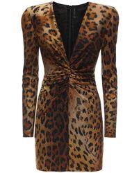 Versace Платье Из Джерси С Принтом - Коричневый