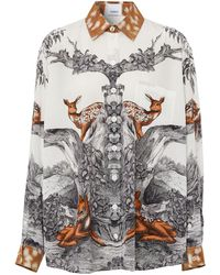 Burberry Carlota Deer Print Silk Twill Shirt - Multicolour