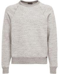 Tom Ford Sweatshirt Aus Baumwolle Mit U-ausschnitt - Grau