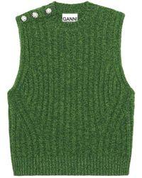 Ganni Weste Aus Recycelter Wollmischung - Grün