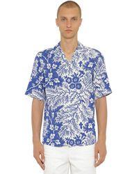 Alexander McQueen Рубашка Из Вискозы С Принтом - Синий