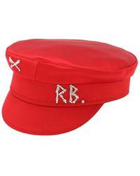 Ruslan Baginskiy Baker Boy-kappe Aus Satin Mit Kristallen - Rot
