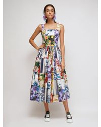 Dolce & Gabbana - Patchwork コットンポプリンドレス - Lyst