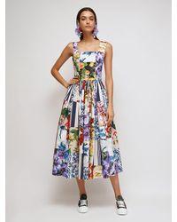 Dolce & Gabbana Платье Из Хлопка Поплин - Синий