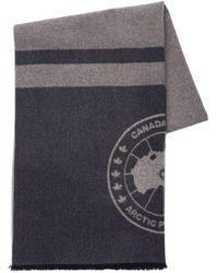 Canada Goose Logo Wool Scarf - Blue