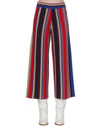 Stella Jean - Striped Lurex Wool Blend Wide Leg Pants - Lyst