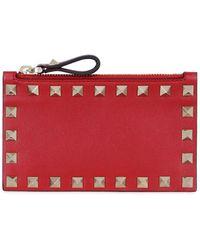 Valentino Garavani Rockstud Leather Card Holder - Red