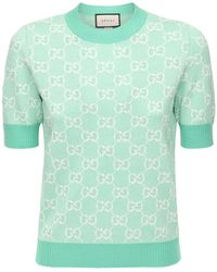 Gucci Gg Jacquard Knit Wool & Cotton Top - Green