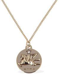 Etro Pegasus Coin Long Chain Necklace - Metallic