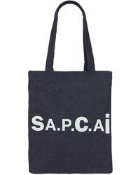 A.P.C. Sacai Holly デニム&ナイロントートバッグ - ブルー