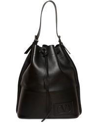 Valentino Garavani Vlogo Signature Leather Bucket Bag - Black