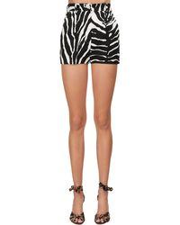 Dolce & Gabbana Shorts De Sarga Stretch Con Estampado Animal - Negro