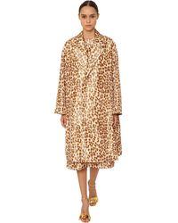 Rochas Leopard Print Silk Taffeta Coat - Multicolour
