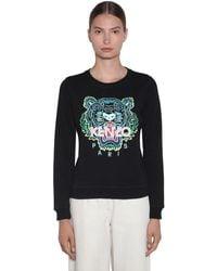 KENZO Sweatshirt Aus Baumwolle Mit Gesticktem Tiger - Schwarz