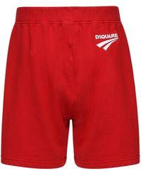 DSquared² Shorts Aus Baumwolljersey Mit Logo - Rot